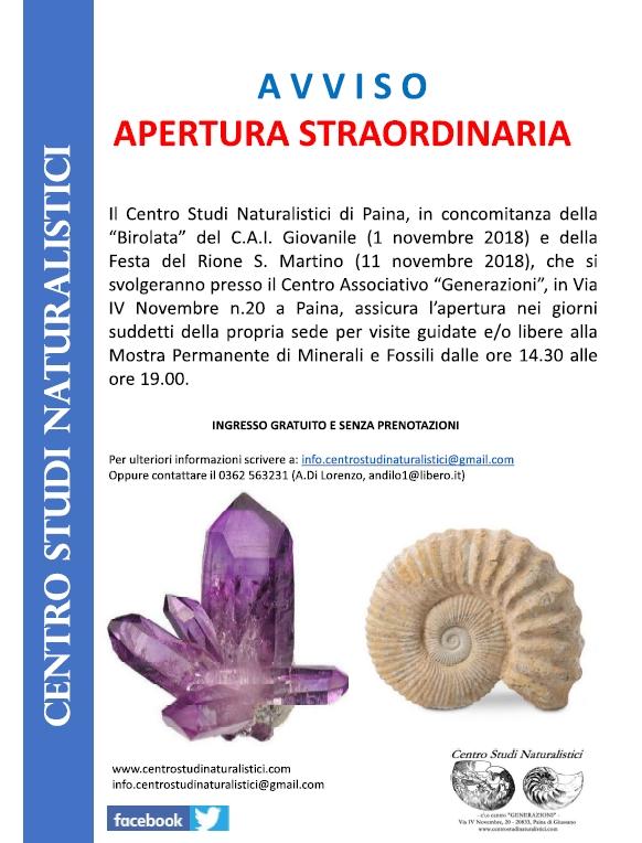 APERTURA STRAORDINARIA 2018